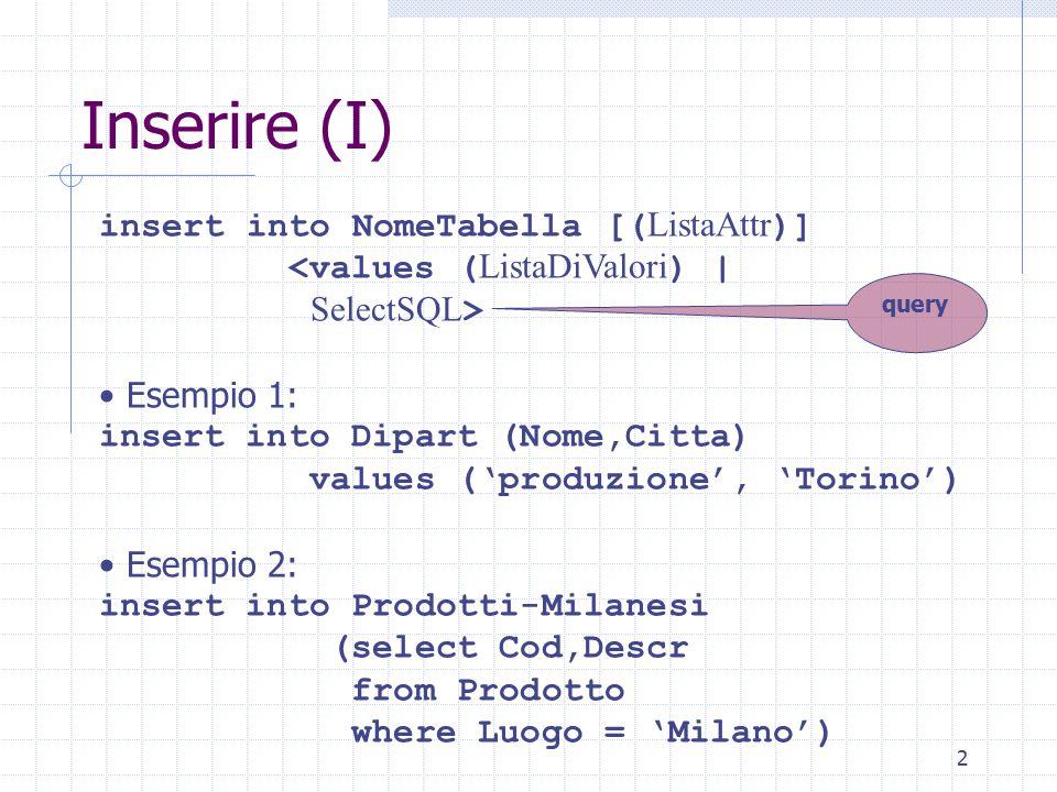 2 Inserire (I) insert into NomeTabella [( ListaAttr )] <values ( ListaDiValori ) | SelectSQL > Esempio 1: insert into Dipart (Nome,Citta) values ('produzione', 'Torino') Esempio 2: insert into Prodotti-Milanesi (select Cod,Descr from Prodotto where Luogo = 'Milano') query