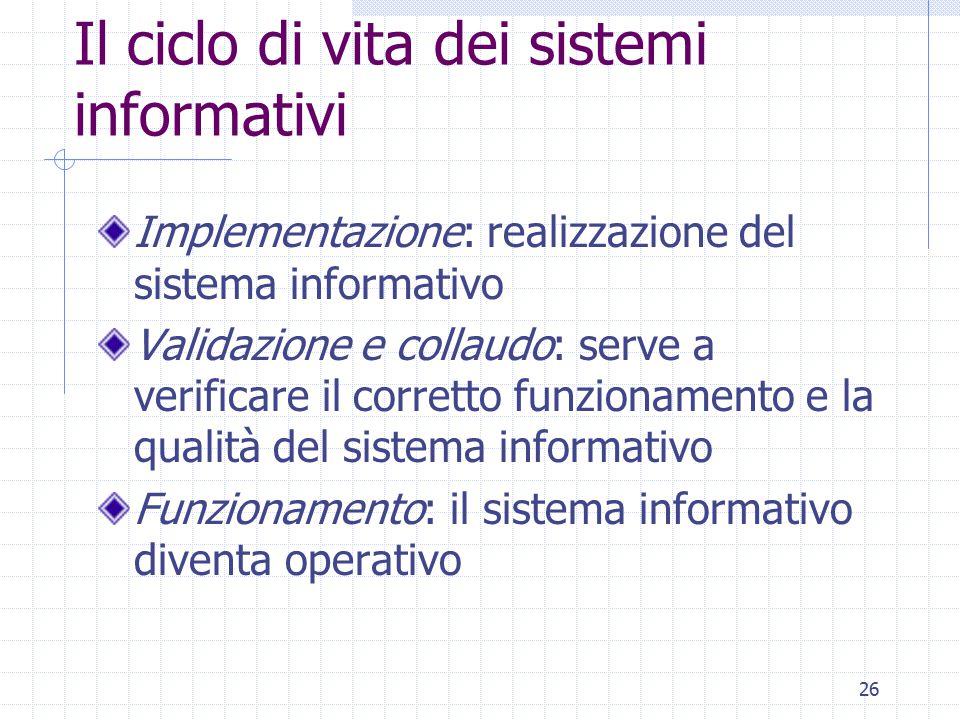 26 Il ciclo di vita dei sistemi informativi Implementazione: realizzazione del sistema informativo Validazione e collaudo: serve a verificare il corretto funzionamento e la qualità del sistema informativo Funzionamento: il sistema informativo diventa operativo