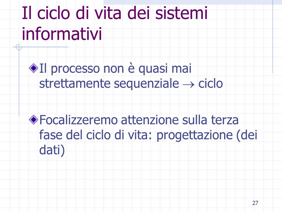 27 Il ciclo di vita dei sistemi informativi Il processo non è quasi mai strettamente sequenziale  ciclo Focalizzeremo attenzione sulla terza fase del ciclo di vita: progettazione (dei dati)