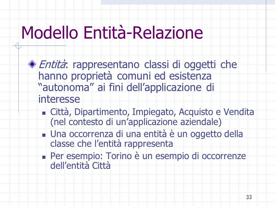 """33 Modello Entità-Relazione Entità: rappresentano classi di oggetti che hanno proprietà comuni ed esistenza """"autonoma"""" ai fini dell'applicazione di in"""