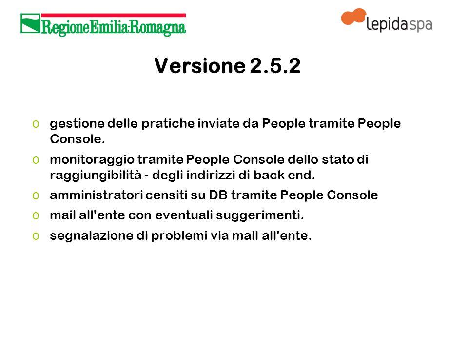 Versione 2.5.2 o gestione delle pratiche inviate da People tramite People Console.