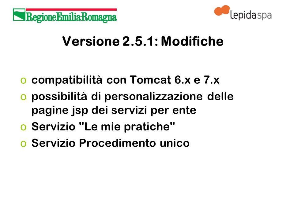 Versione 2.5.1: Modifiche o compatibilità con Tomcat 6.x e 7.x o possibilità di personalizzazione delle pagine jsp dei servizi per ente o Servizio Le mie pratiche o Servizio Procedimento unico