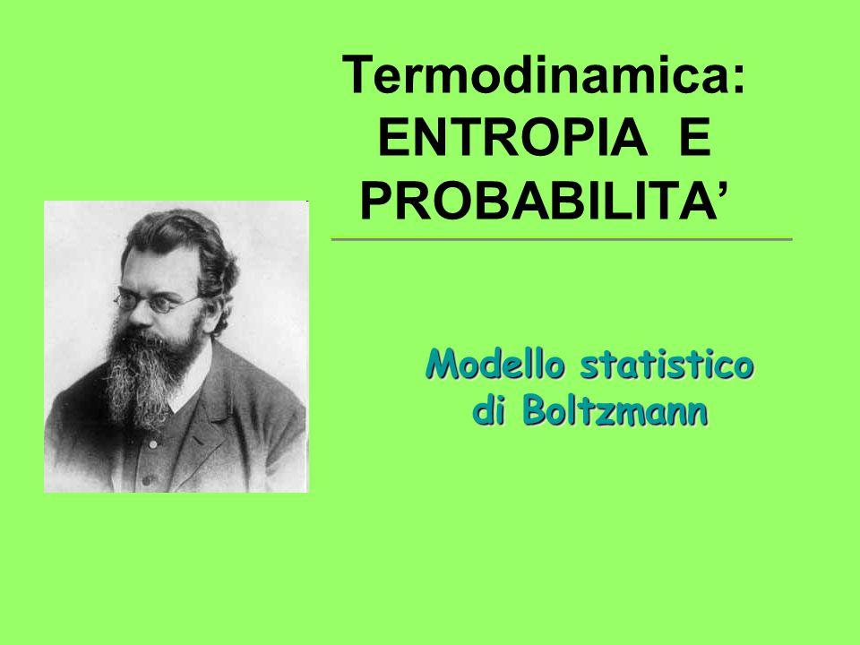Termodinamica: ENTROPIA E PROBABILITA' Modello statistico di Boltzmann