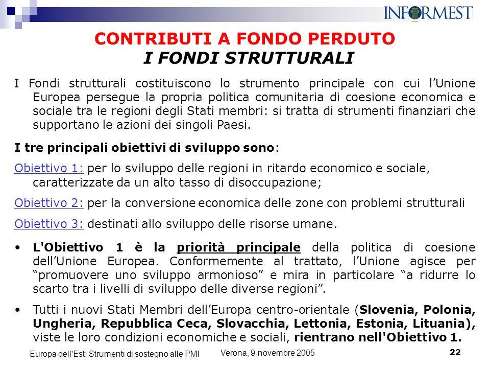 Verona, 9 novembre 200522 Europa dell'Est: Strumenti di sostegno alle PMI CONTRIBUTI A FONDO PERDUTO I Fondi strutturali costituiscono lo strumento pr