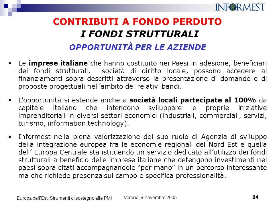Verona, 9 novembre 200524 Europa dell'Est: Strumenti di sostegno alle PMI CONTRIBUTI A FONDO PERDUTO Le imprese italiane che hanno costituito nei Paes