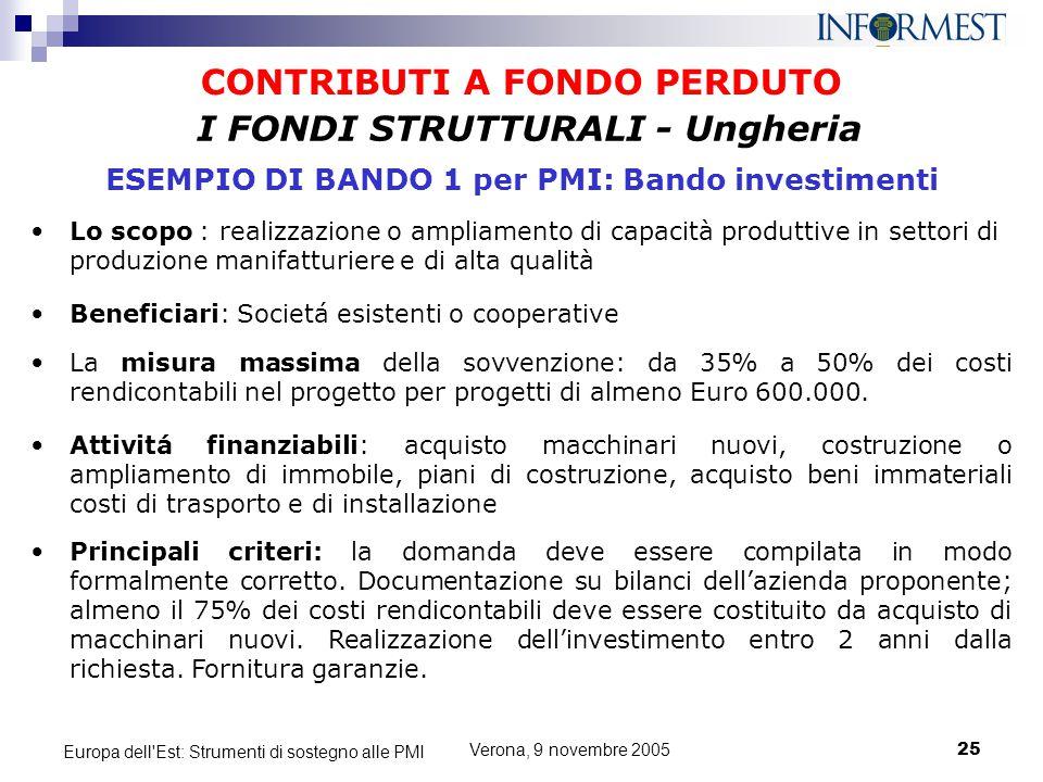 Verona, 9 novembre 200525 Europa dell'Est: Strumenti di sostegno alle PMI CONTRIBUTI A FONDO PERDUTO Lo scopo : realizzazione o ampliamento di capacit