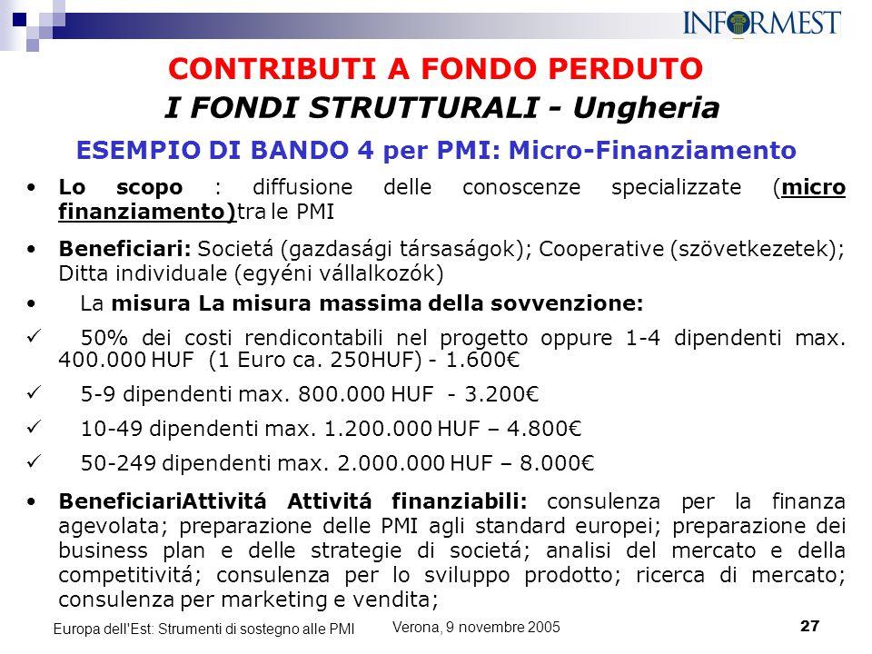Verona, 9 novembre 200527 Europa dell'Est: Strumenti di sostegno alle PMI CONTRIBUTI A FONDO PERDUTO Lo scopo : diffusione delle conoscenze specializz