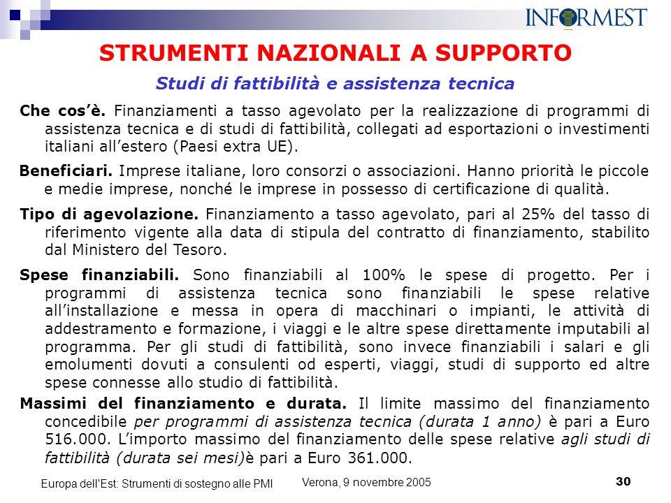 Verona, 9 novembre 200530 Europa dell'Est: Strumenti di sostegno alle PMI STRUMENTI NAZIONALI A SUPPORTO Che cos'è. Finanziamenti a tasso agevolato pe