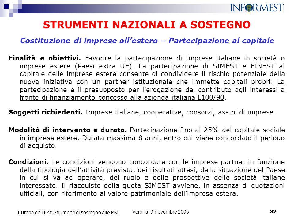 Verona, 9 novembre 200532 Europa dell'Est: Strumenti di sostegno alle PMI STRUMENTI NAZIONALI A SOSTEGNO Finalità e obiettivi. Favorire la partecipazi