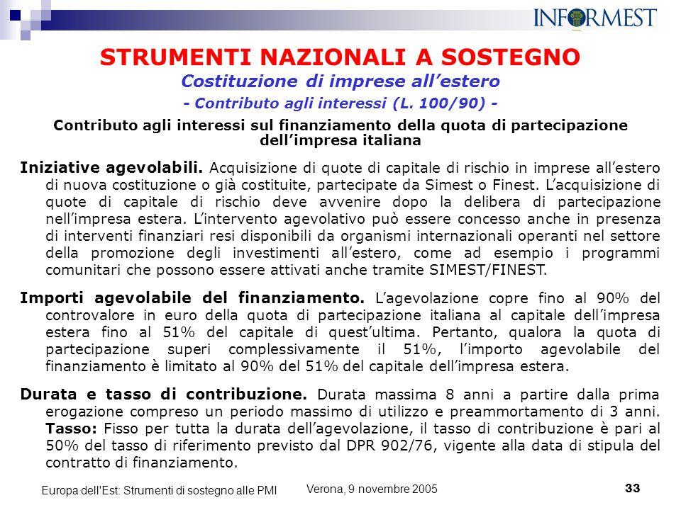 Verona, 9 novembre 200533 Europa dell'Est: Strumenti di sostegno alle PMI STRUMENTI NAZIONALI A SOSTEGNO Iniziative agevolabili. Acquisizione di quote