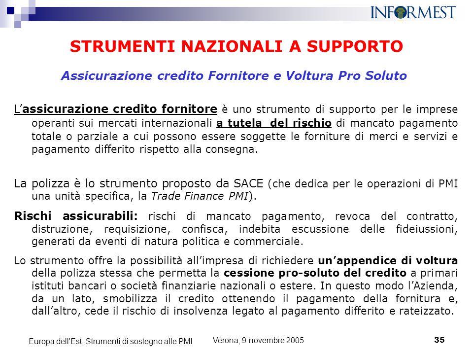 Verona, 9 novembre 200535 Europa dell'Est: Strumenti di sostegno alle PMI STRUMENTI NAZIONALI A SUPPORTO L'assicurazione credito fornitore è uno strum
