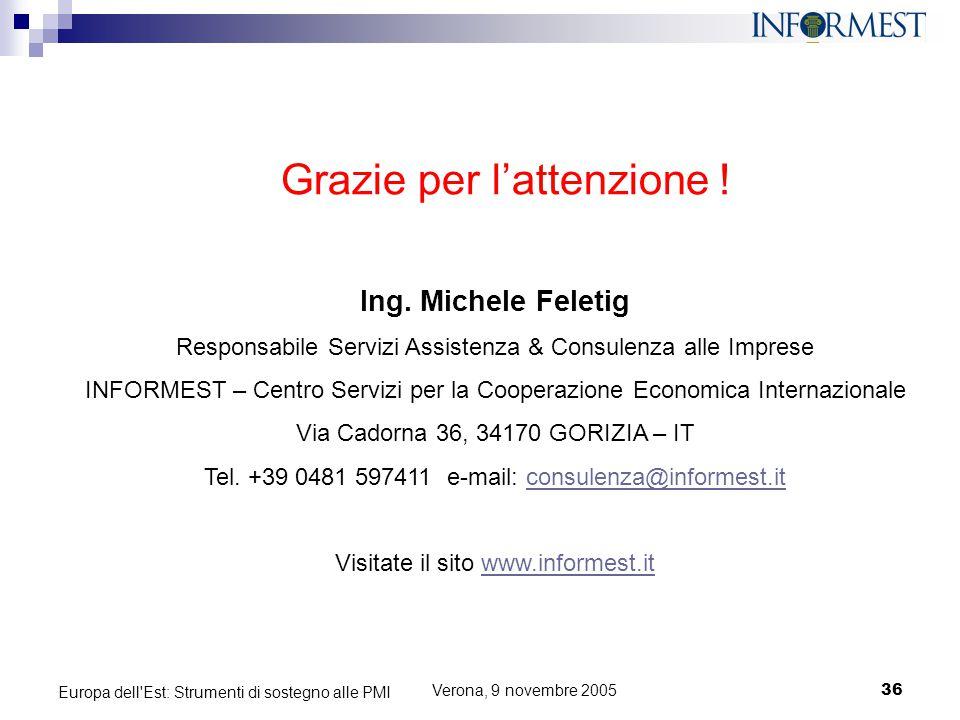 Verona, 9 novembre 200536 Europa dell'Est: Strumenti di sostegno alle PMI Grazie per l'attenzione ! Ing. Michele Feletig Responsabile Servizi Assisten