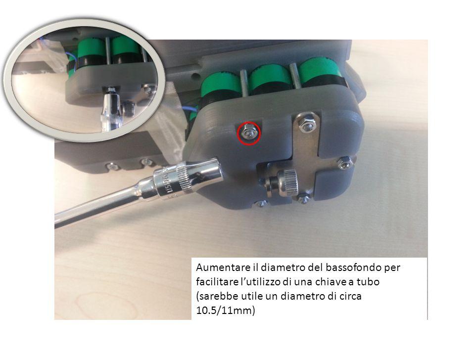 Aumentare il diametro del bassofondo per facilitare l'utilizzo di una chiave a tubo (sarebbe utile un diametro di circa 10.5/11mm)