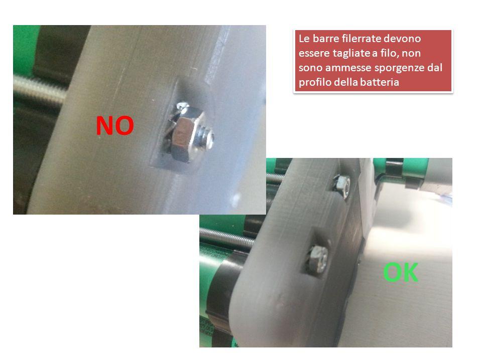 Le barre filerrate devono essere tagliate a filo, non sono ammesse sporgenze dal profilo della batteria OK NO