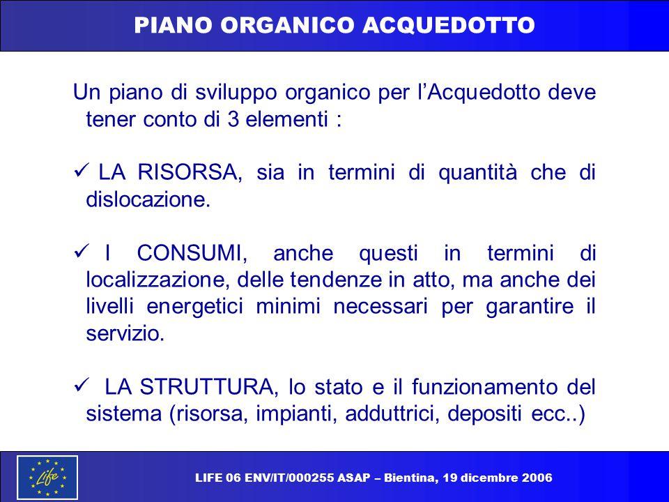 LIFE 06 ENV/IT/000255 ASAP – Bientina, 19 dicembre 2006 PIANO ORGANICO ACQUEDOTTO Un piano di sviluppo organico per l'Acquedotto deve tener conto di 3