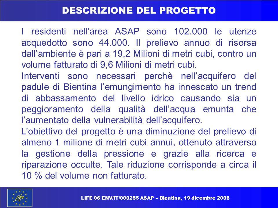 DESCRIZIONE DEL PROGETTO I residenti nell'area ASAP sono 102.000 le utenze acquedotto sono 44.000. Il prelievo annuo di risorsa dall'ambiente è pari a