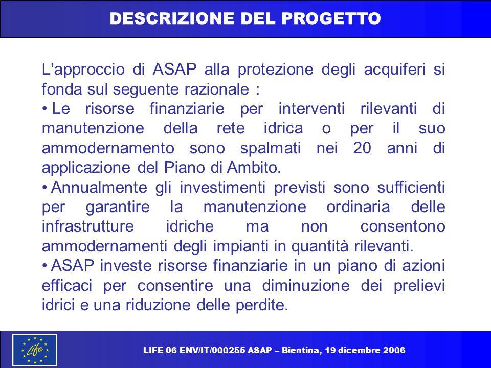 DESCRIZIONE DEL PROGETTO L'approccio di ASAP alla protezione degli acquiferi si fonda sul seguente razionale : Le risorse finanziarie per interventi r