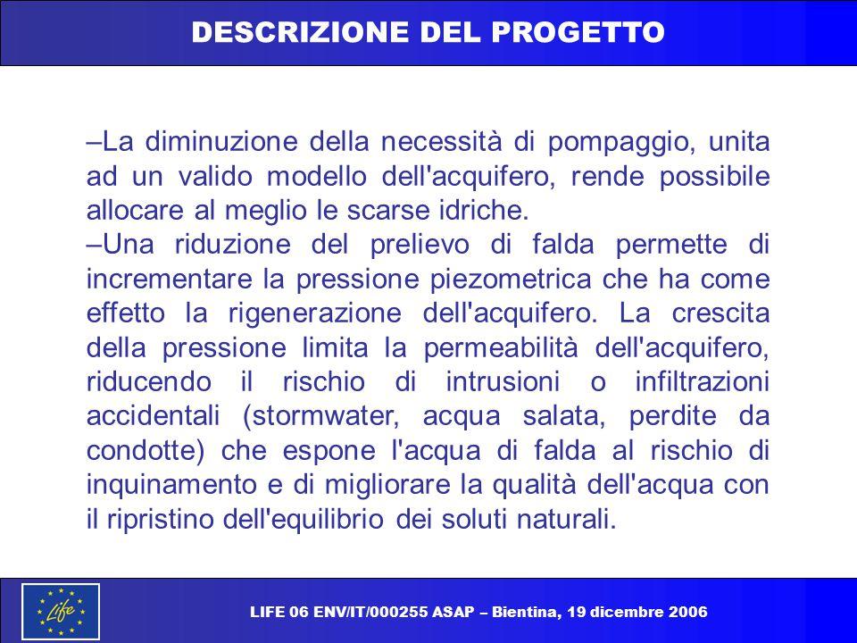 DESCRIZIONE DEL PROGETTO –La diminuzione della necessità di pompaggio, unita ad un valido modello dell'acquifero, rende possibile allocare al meglio l