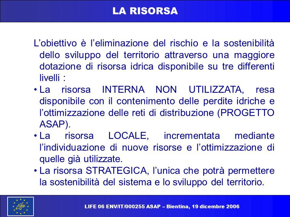 LIFE 06 ENV/IT/000255 ASAP – Bientina, 19 dicembre 2006 LA RISORSA L'obiettivo è l'eliminazione del rischio e la sostenibilità dello sviluppo del terr