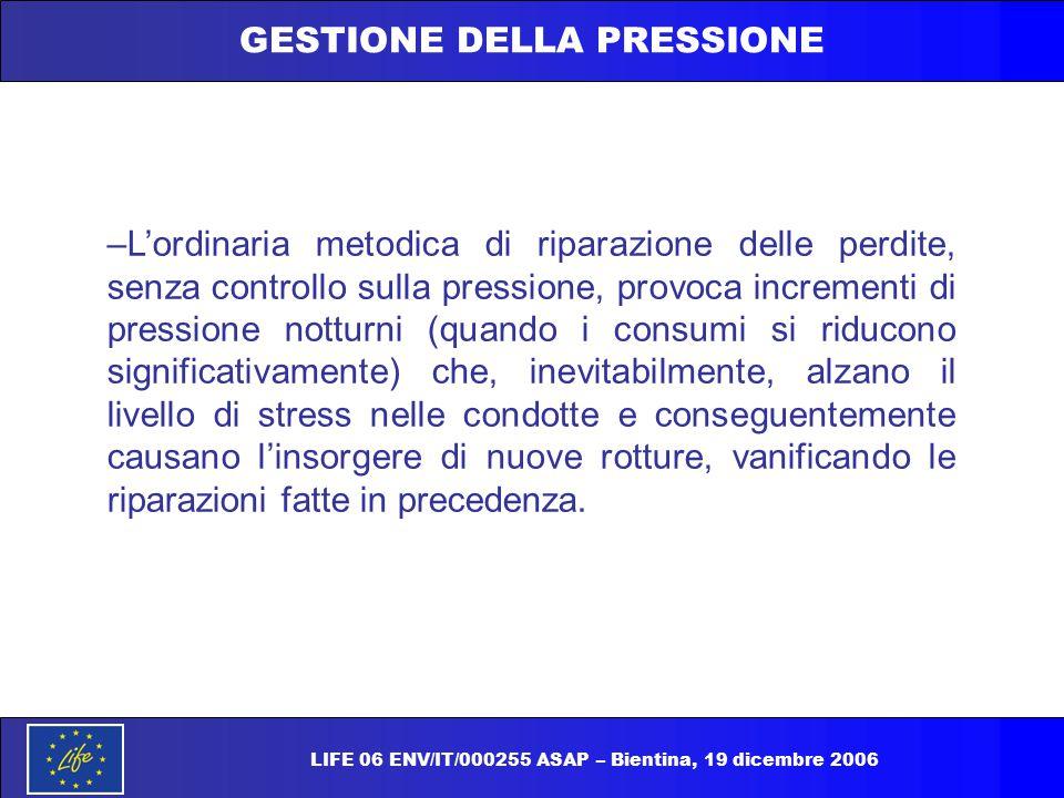 GESTIONE DELLA PRESSIONE –L'ordinaria metodica di riparazione delle perdite, senza controllo sulla pressione, provoca incrementi di pressione notturni