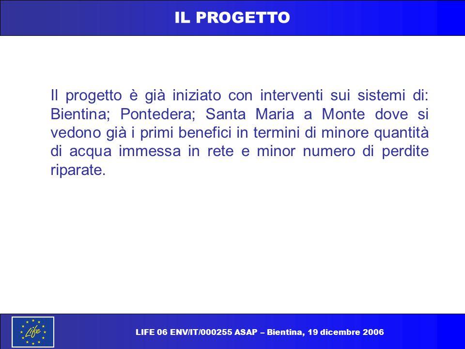 IL PROGETTO Il progetto è già iniziato con interventi sui sistemi di: Bientina; Pontedera; Santa Maria a Monte dove si vedono già i primi benefici in