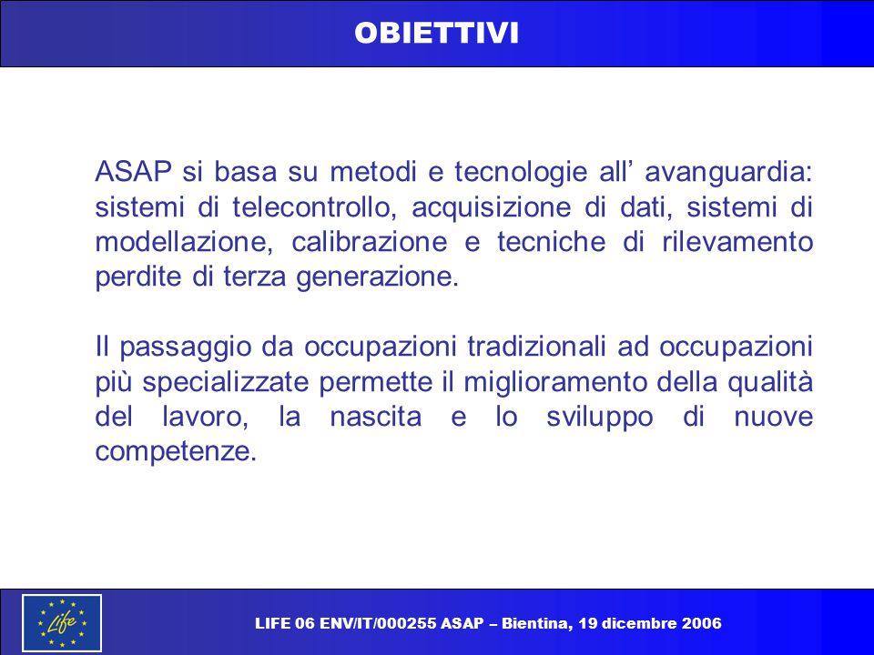 OBIETTIVI ASAP si basa su metodi e tecnologie all' avanguardia: sistemi di telecontrollo, acquisizione di dati, sistemi di modellazione, calibrazione
