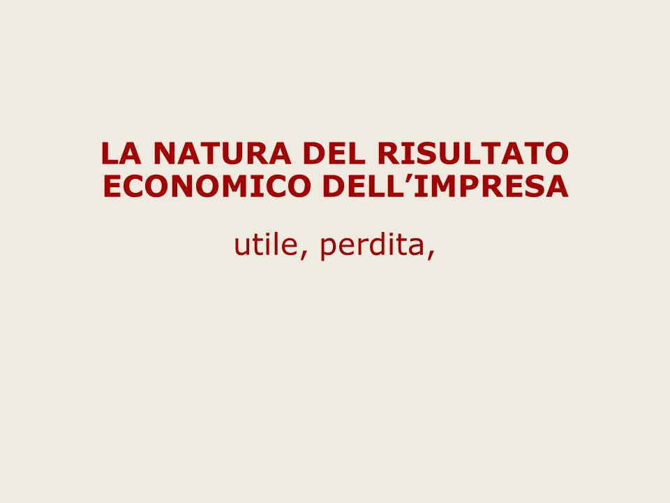 LA NATURA DEL RISULTATO ECONOMICO DELL'IMPRESA utile, perdita,