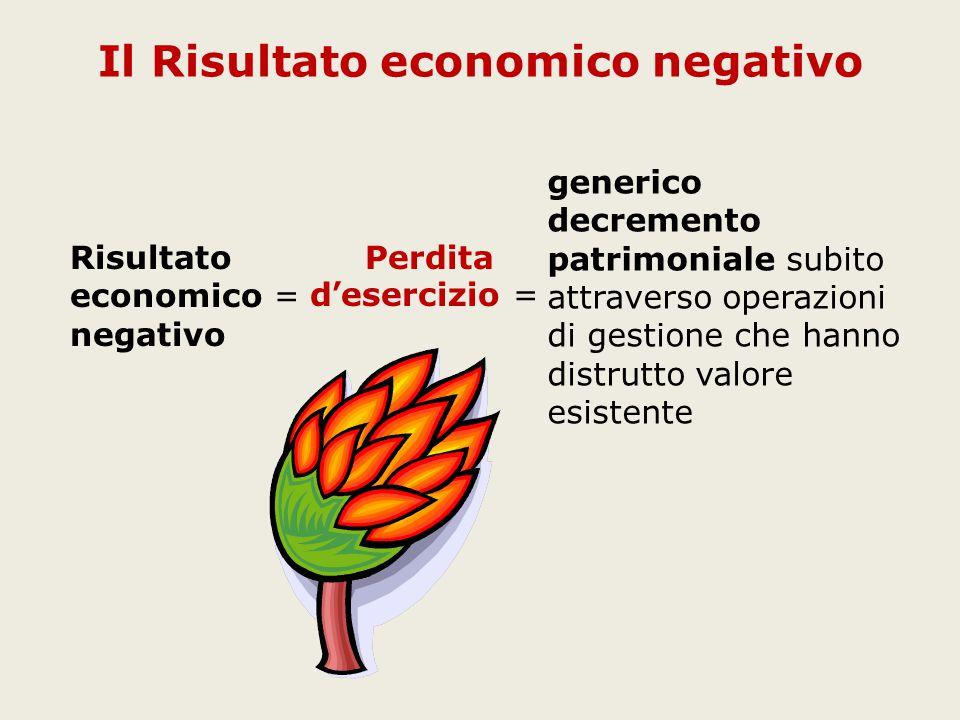 generico decremento patrimoniale subito attraverso operazioni di gestione che hanno distrutto valore esistente Il Risultato economico negativo Risultato economico = negativo Perdita d'esercizio =