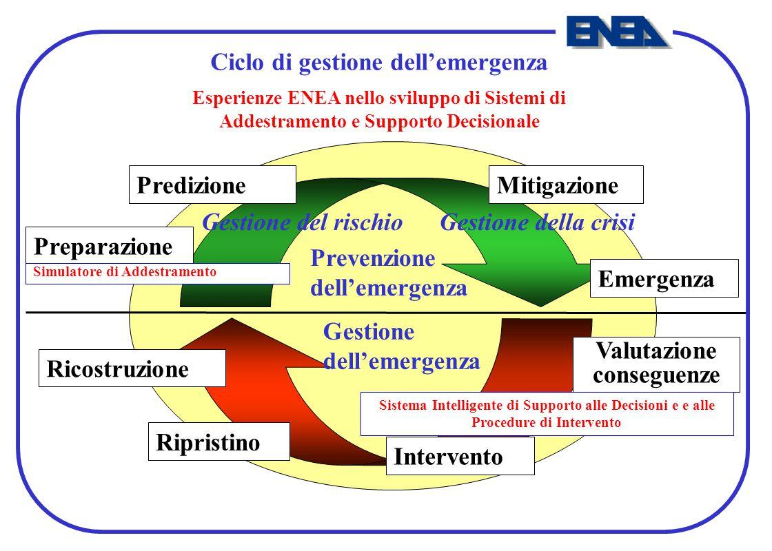Preparazione MitigazionePredizione Emergenza Ricostruzione Ripristino Intervento Valutazione conseguenze Gestione dell'emergenza Prevenzione dell'emer