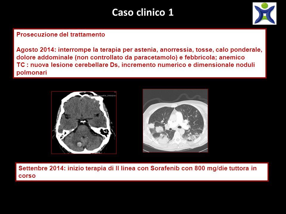 Caso clinico 1 Prosecuzione del trattamento Agosto 2014: interrompe la terapia per astenia, anorressia, tosse, calo ponderale, dolore addominale (non