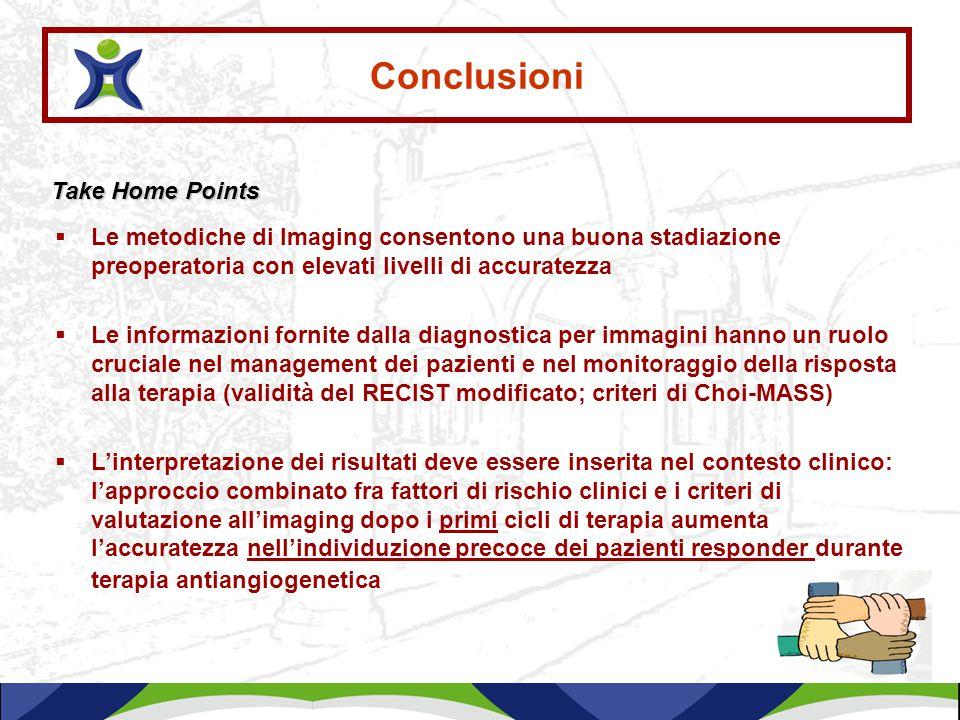 Conclusioni  Le metodiche di Imaging consentono una buona stadiazione preoperatoria con elevati livelli di accuratezza  Le informazioni fornite dall