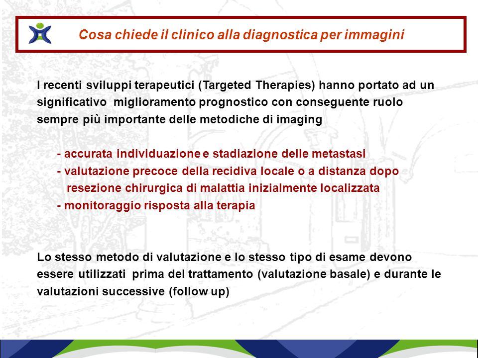 Cosa chiede il clinico alla diagnostica per immagini I recenti sviluppi terapeutici (Targeted Therapies) hanno portato ad un significativo miglioramen