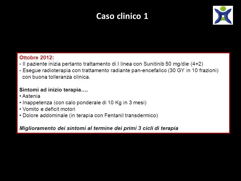 Caso clinico 1 Ottobre 2012: - Il paziente inizia pertanto trattamento di I linea con Sunitinib 50 mg/die (4+2) - Esegue radioterapia con trattamento