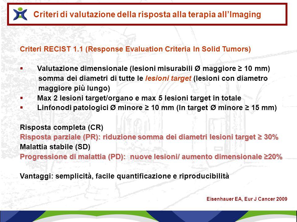 Criteri RECIST 1.1 (Response Evaluation Criteria In Solid Tumors)  Valutazione dimensionale (lesioni misurabili Ø maggiore ≥ 10 mm) somma dei diametr