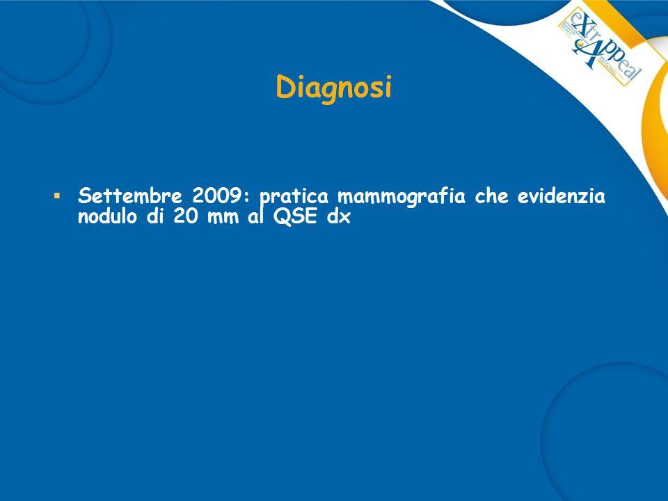 Diagnosi  Settembre 2009: pratica mammografia che evidenzia nodulo di 20 mm al QSE dx