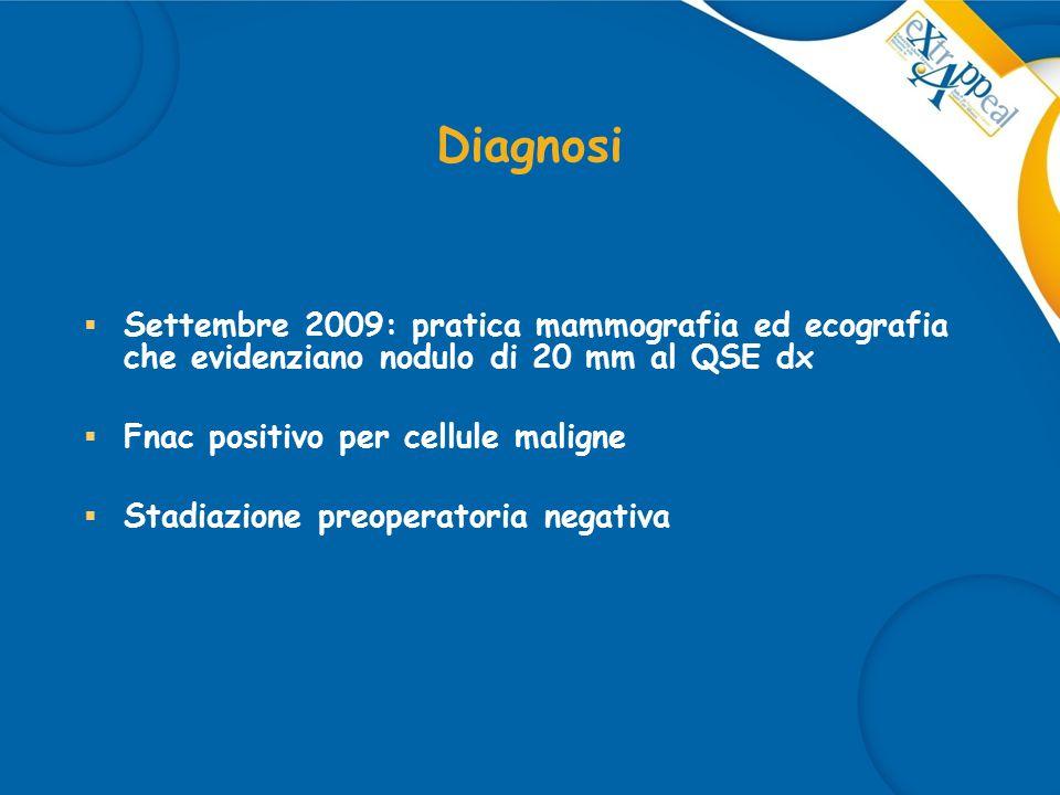 Trattamento 1  Ottobre 2009: la paz viene sottoposta ad intervento chirurgico di quadrantectomia supero-esterna destra con linfoadenectomia ascellare omolaterale  D.I.: CDI pT2 (2,3cm), G3, N1 (2/13), ER 90% PgR 70%, Ki67 20%, cerbB2 negativo  Gennaio 2010: termina CT adiuvante con ACx4  Febbraio 2010: pratica RT sul parenchima mammario residuo ed inizia terapia ormonale con TAM (Protocollo FATA).