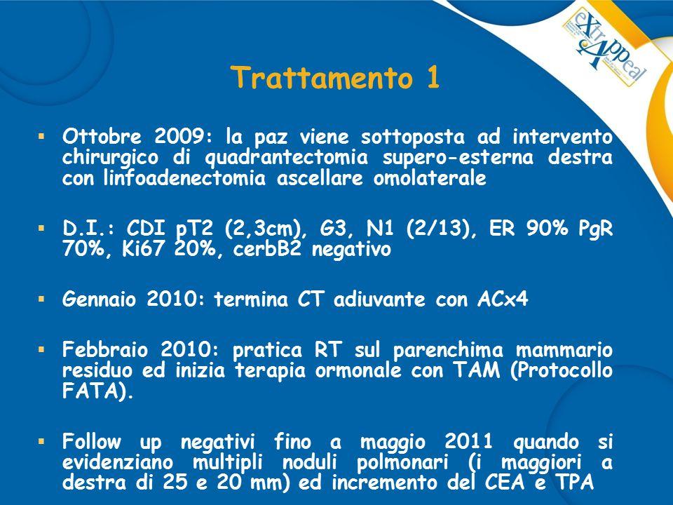 Trattamento 1  Ottobre 2009: la paz viene sottoposta ad intervento chirurgico di quadrantectomia supero-esterna destra con linfoadenectomia ascellare