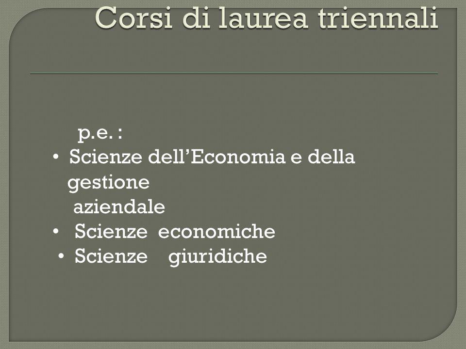 p.e. : Scienze dell'Economia e della gestione aziendale Scienze economiche Scienze giuridiche