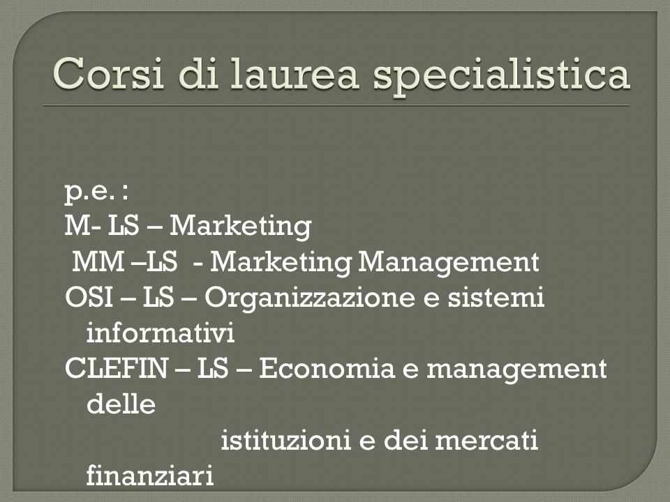 p.e. : M- LS – Marketing MM –LS - Marketing Management OSI – LS – Organizzazione e sistemi informativi CLEFIN – LS – Economia e management delle istit