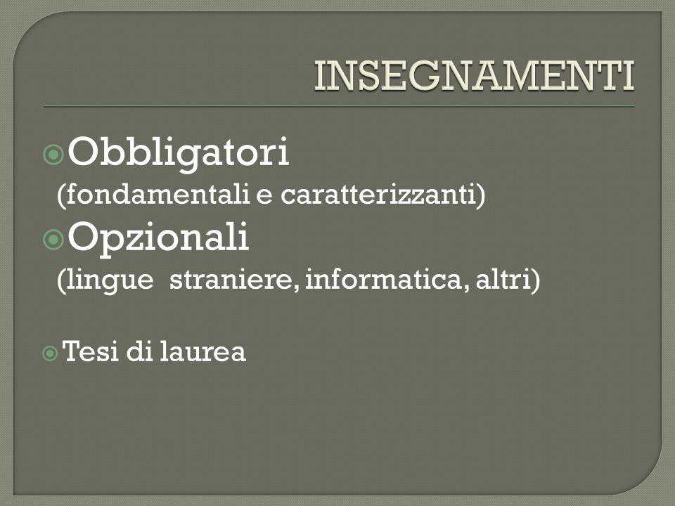  Obbligatori (fondamentali e caratterizzanti)  Opzionali (lingue straniere, informatica, altri)  Tesi di laurea