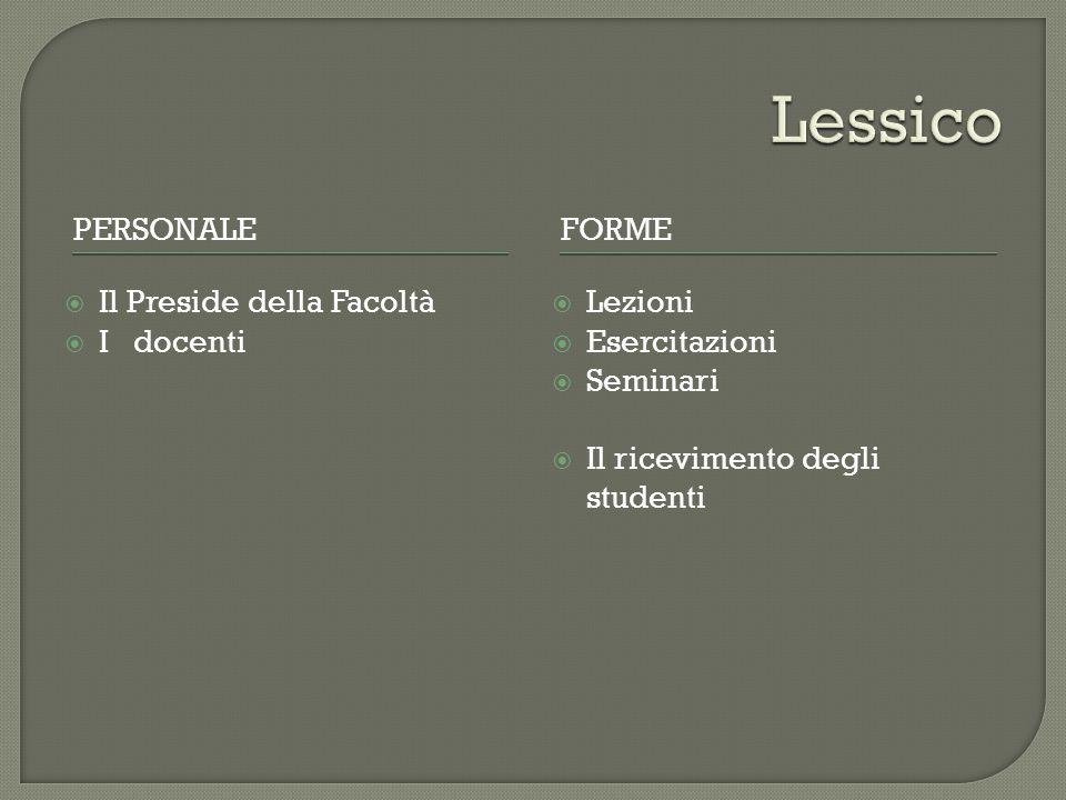 PERSONALEFORME  Il Preside della Facoltà  I docenti  Lezioni  Esercitazioni  Seminari  Il ricevimento degli studenti