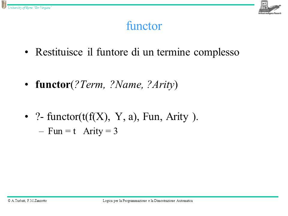 © A.Turbati, F.M.ZanzottoLogica per la Programmazione e la Dimostrazione Automatica University of Rome Tor Vergata Restituisce il funtore di un termine complesso functor( Term, Name, Arity) - functor(t(f(X), Y, a), Fun, Arity ).