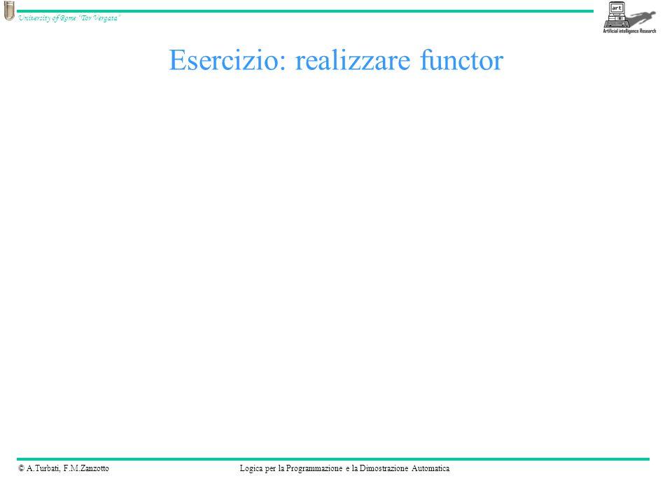 © A.Turbati, F.M.ZanzottoLogica per la Programmazione e la Dimostrazione Automatica University of Rome Tor Vergata Esercizio: realizzare functor