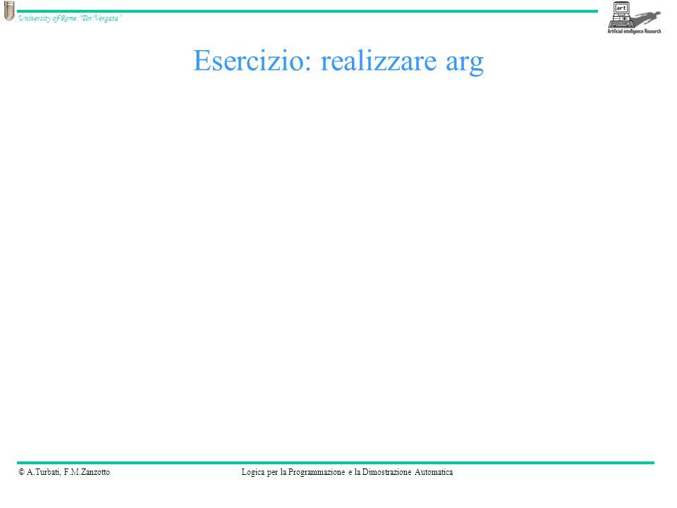 © A.Turbati, F.M.ZanzottoLogica per la Programmazione e la Dimostrazione Automatica University of Rome Tor Vergata Esercizio: realizzare arg