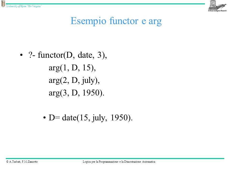 © A.Turbati, F.M.ZanzottoLogica per la Programmazione e la Dimostrazione Automatica University of Rome Tor Vergata - functor(D, date, 3), arg(1, D, 15), arg(2, D, july), arg(3, D, 1950).