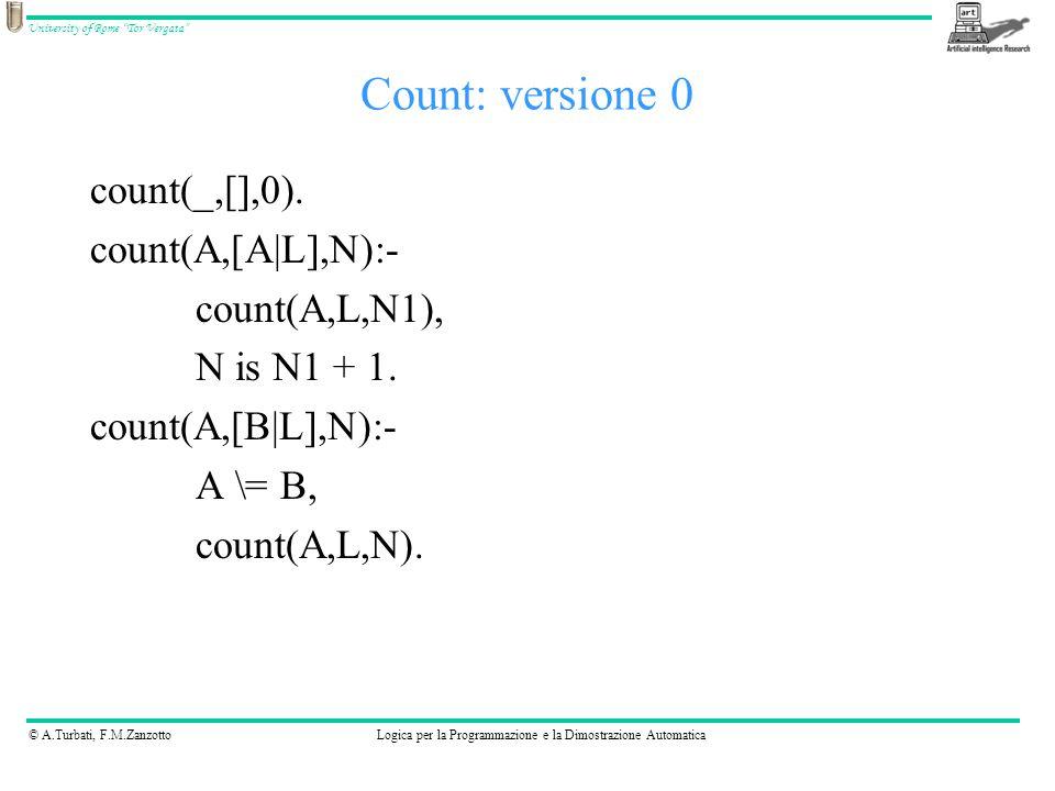 © A.Turbati, F.M.ZanzottoLogica per la Programmazione e la Dimostrazione Automatica University of Rome Tor Vergata count(_, [], 0).