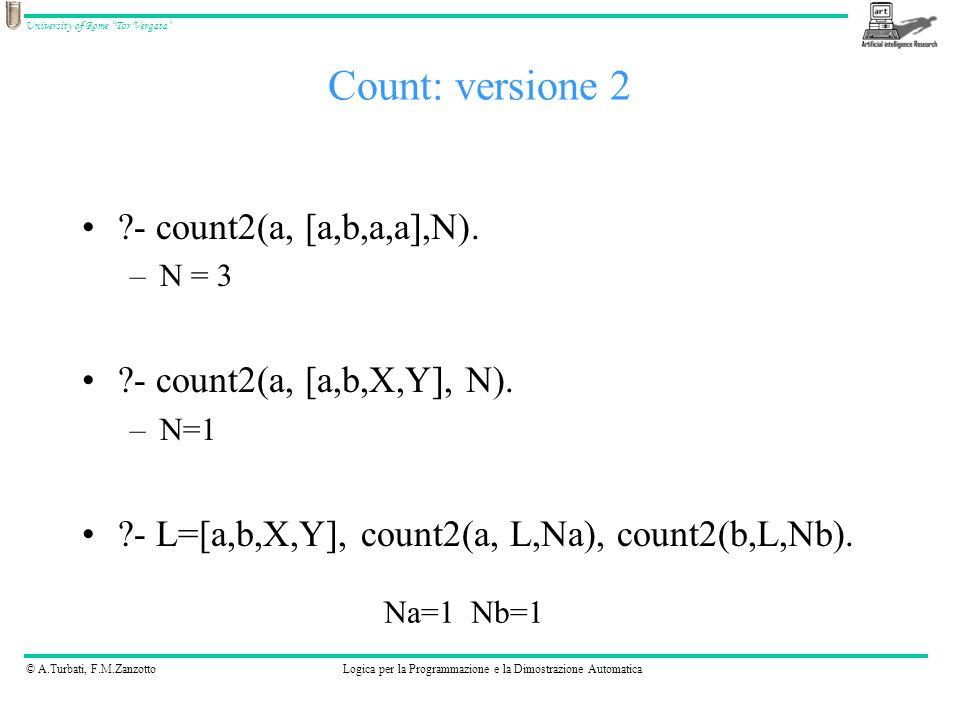 © A.Turbati, F.M.ZanzottoLogica per la Programmazione e la Dimostrazione Automatica University of Rome Tor Vergata - count2(a, [a,b,a,a],N).