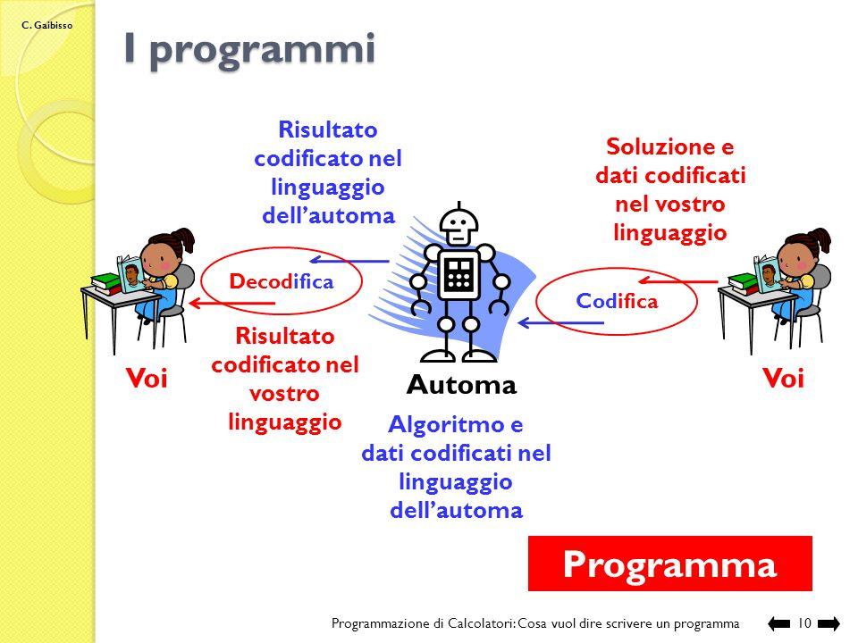 C. Gaibisso Nozione intuitiva di algoritmo Programmazione di Calcolatori: Cosa vuol dire scrivere un programma9 Start Stop N1, N2 N1 > N2 Inizio della