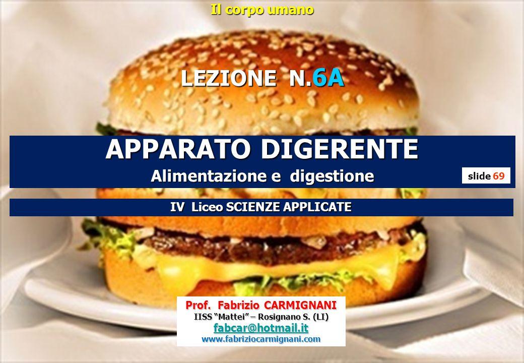 """Il corpo umano LEZIONE N. 6A APPARATO DIGERENTE Alimentazione e digestione Prof. Fabrizio CARMIGNANI IISS """"Mattei"""" – Rosignano S. (LI) fabcar@hotmail."""
