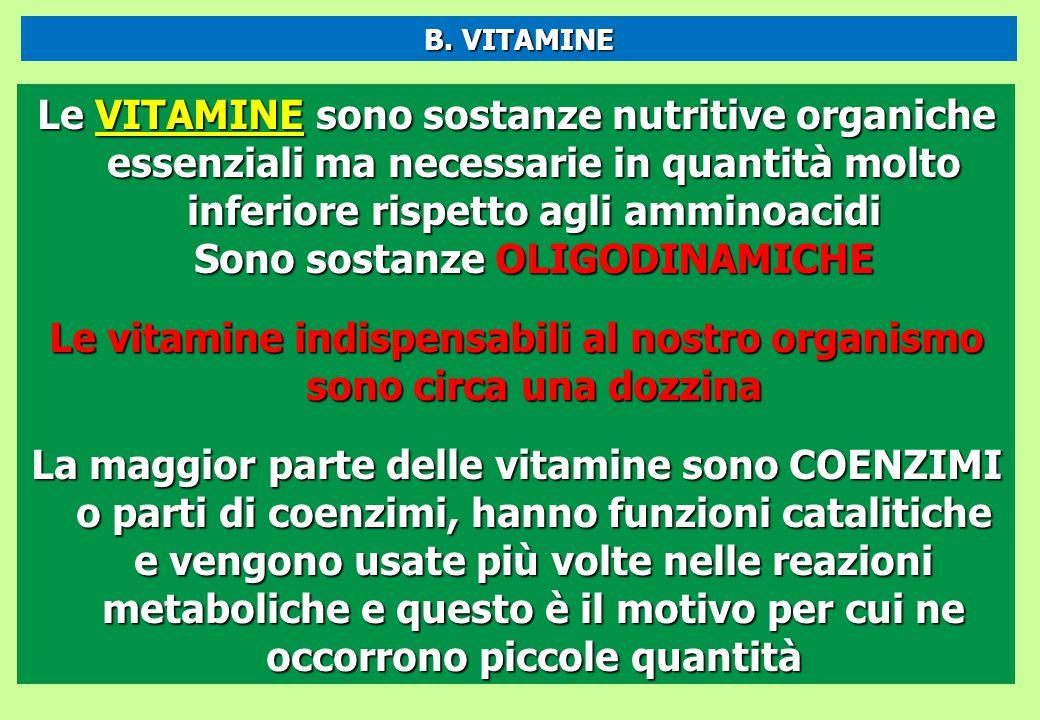 Le VITAMINE sono sostanze nutritive organiche essenziali ma necessarie in quantità molto inferiore rispetto agli amminoacidi Sono sostanze OLIGODINAMI